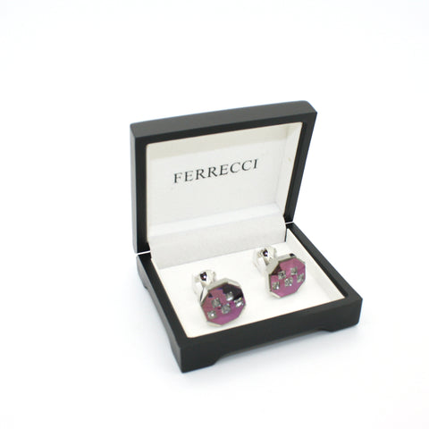 Silvertone Purple Glass Stone Cuff Links With Jewelry Box