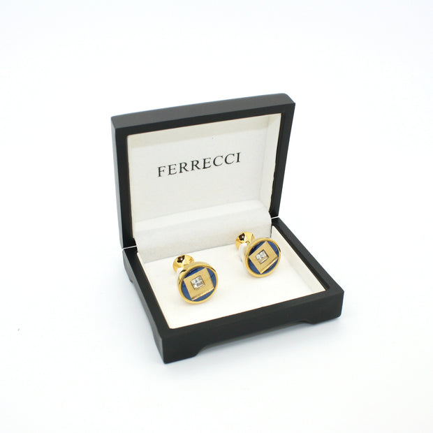 Goldtone Blue Center Glass Stone Cuff Links With Jewelry Box - Ferrecci USA