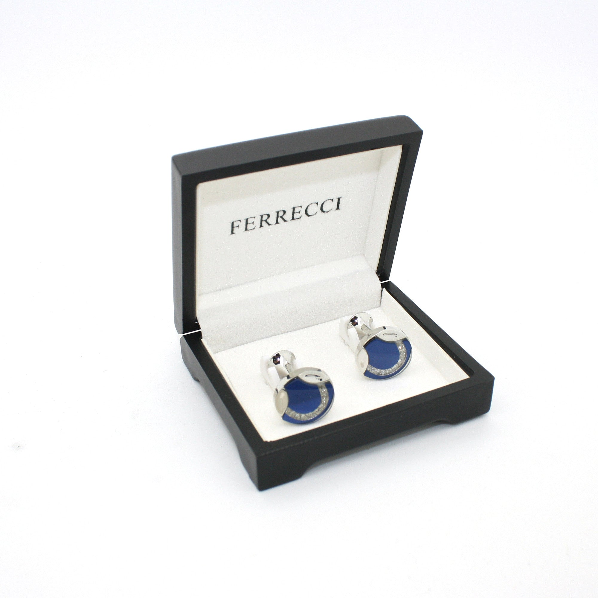 Silvertone Blue Glass Cuff Links With Jewelry Box