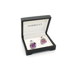 Silvertone Purple Glass Cuff Links With Jewelry Box