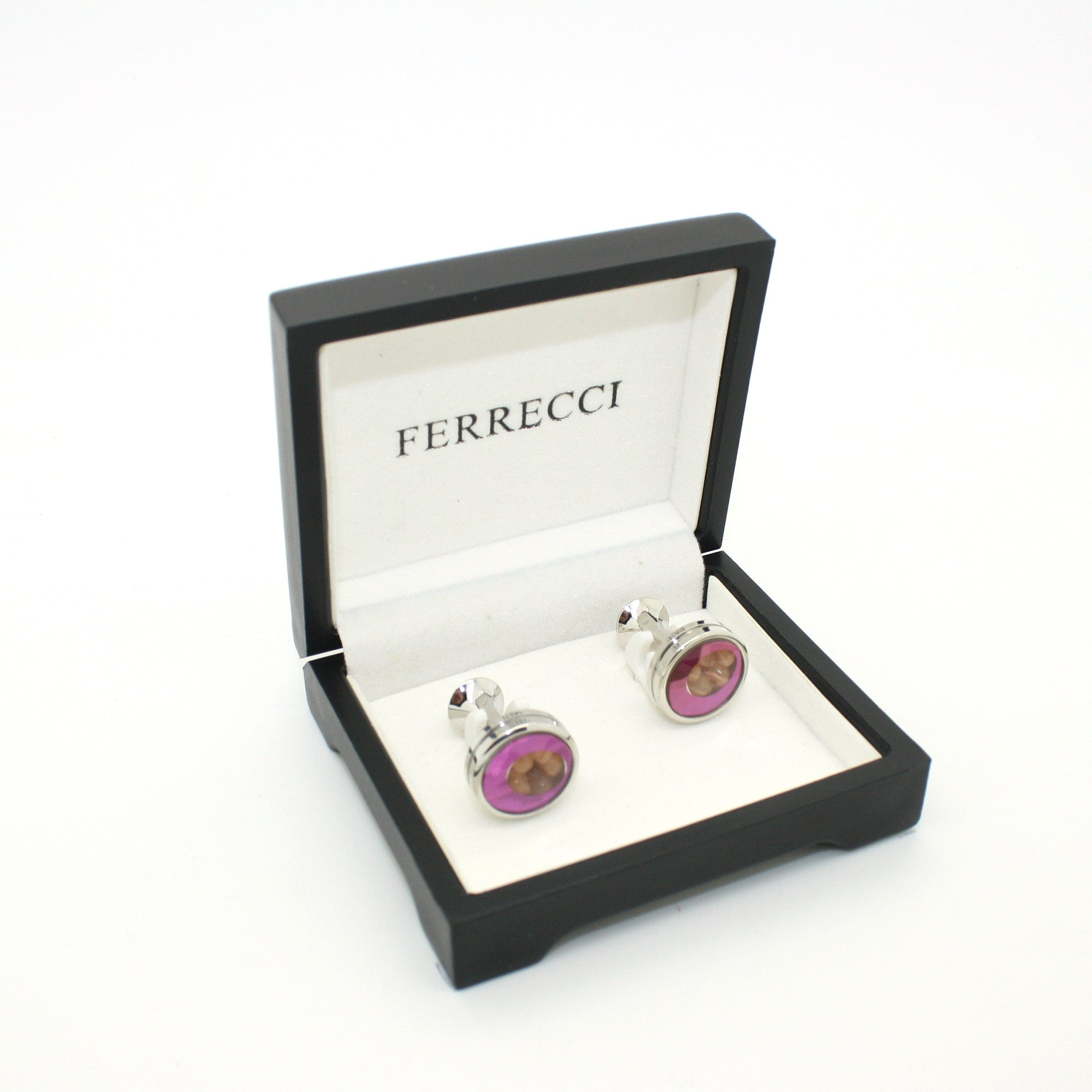 Silvertone Purple Glass Gemstone Cuff Links With Jewelry Box
