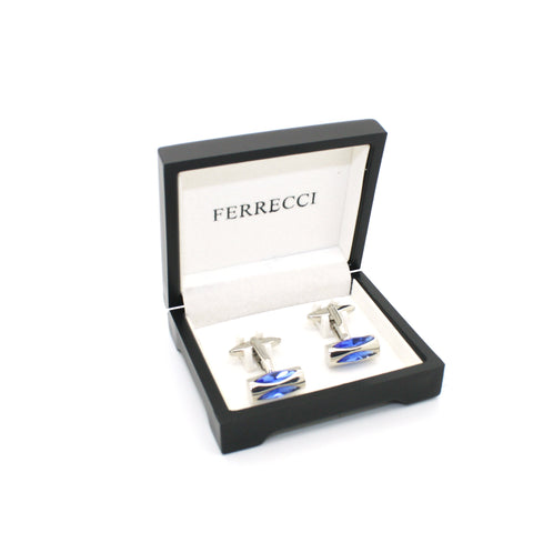 Silvertone Blue Opal Cuff Links With Jewelry Box