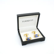 Goldtone Blue Opal Cuff Links With Jewelry Box