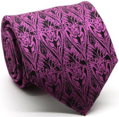 Mens Dads Classic Fuchsia Paisley Pattern Business Casual Necktie & Hanky Set GO-5 - Ferrecci USA