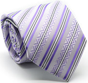 Mens Dads Classic Purple Striped Pattern Business Casual Necktie & Hanky Set H-12 - Ferrecci USA
