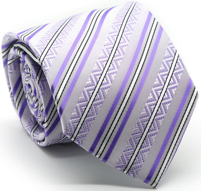 Mens Dads Classic Purple Striped Pattern Business Casual Necktie & Hanky Set H-12