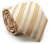 Mens Dads Classic Yellow Striped Pattern Business Casual Necktie & Hanky Set H-9 - Ferrecci USA
