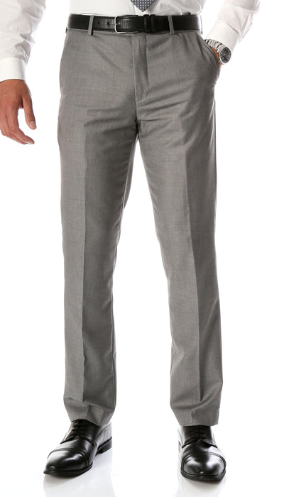 Ferrecci Men's Halo Grey Slim Fit Flat-Front Dress Pants