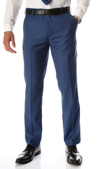 Ferrecci Men's Halo Indigo Slim Fit Flat-Front Dress Pants