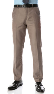 Ferrecci Men's Halo Taupe Slim Fit Flat-Front Dress Pants - Ferrecci USA