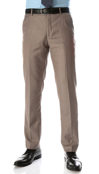Ferrecci Men's Halo Taupe Slim Fit Flat-Front Dress Pants