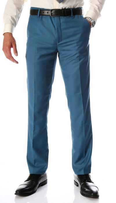 Ferrecci Men's Halo Teal Slim Fit Flat-Front Dress Pants