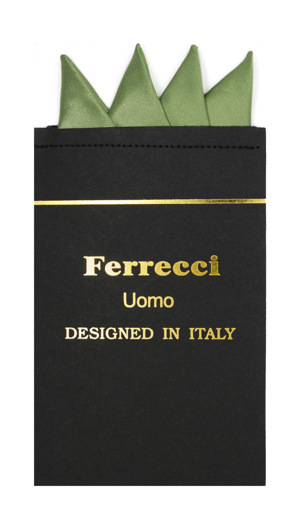 Pre-Folded Microfiber Hunter Green Handkerchief Pocket Square - Ferrecci USA