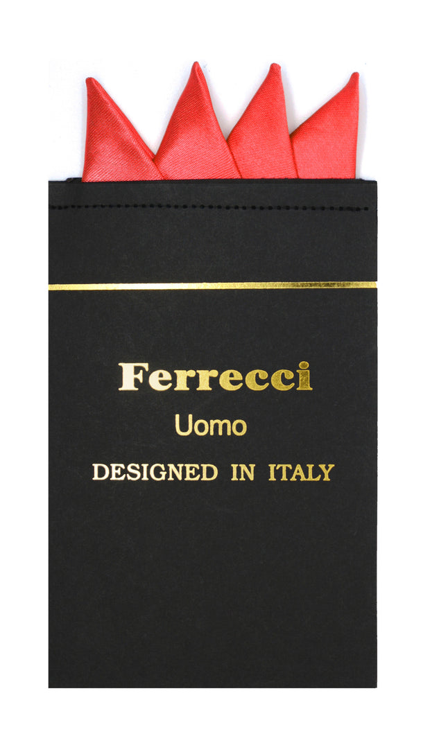Pre-Folded Microfiber Red Handkerchief Pocket Square - Ferrecci USA