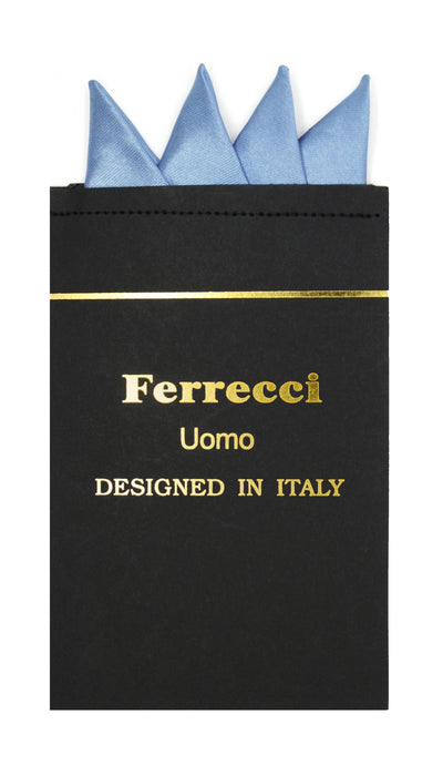 Pre-Folded Microfiber Sky Blue Handkerchief Pocket Square - Ferrecci USA