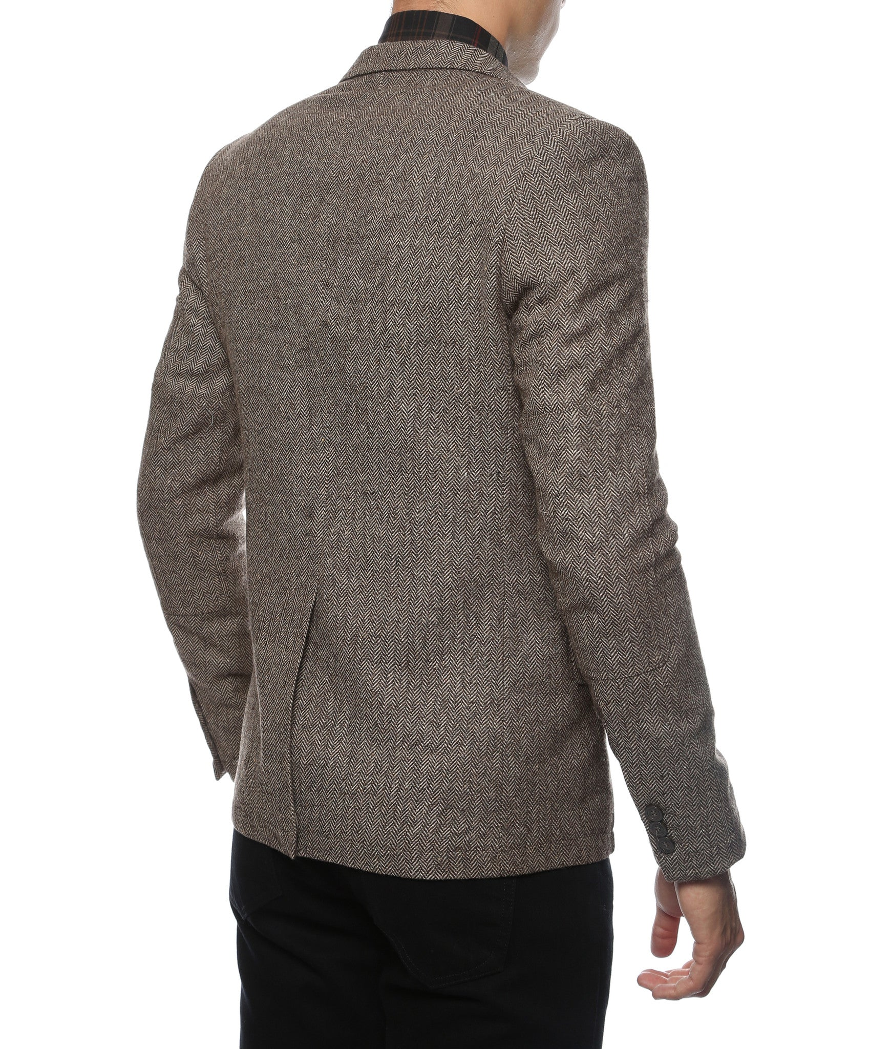 The Hardy Brown Herringbone Super Slim Fit Mens Blazer