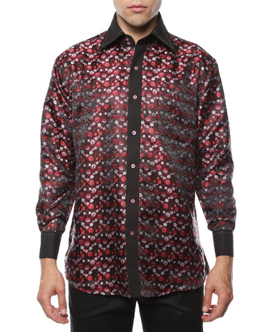 Ferrecci Men's Satine Hi-1001 Red & Black Flower Button Down Dress Shirt