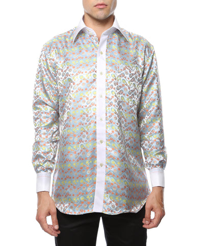 Ferrecci Men's Satine Hi-1002 Multi Color Flower Button Down Dress Shirt - Ferrecci USA