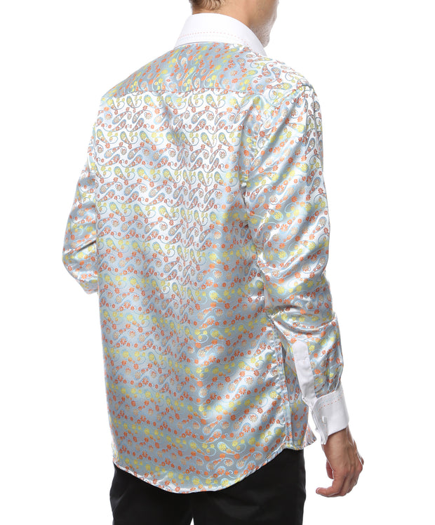 Ferrecci Men's Satine Hi-1002 Multi Color Flower Button Down Dress Shirt