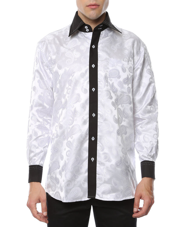 Ferrecci Men's Satine Hi-1003 White Black Flower Button Down Dress Shirt