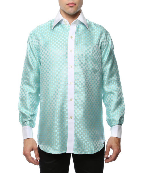 Ferrecci Men's Satine Hi-1004 Turquoise Circle Pattern Button Down Dress Shirt