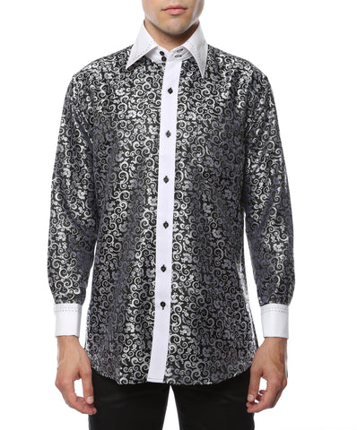 Ferrecci Men's Satine Hi-1006 Black & White Pattern Button Down Dress Shirt