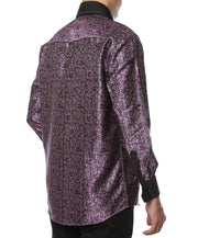 Ferrecci Men's Satine Hi-1007 Purple Pattern Button Down Dress Shirt