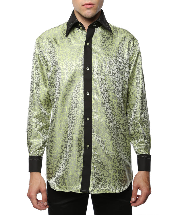 Ferrecci Men's Satine Hi-1008 Green Pattern Button Down Dress Shirt