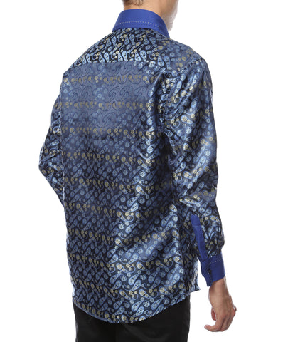 Ferrecci Men's Satine Hi-1009 Blue Flower Button Down Dress Shirt