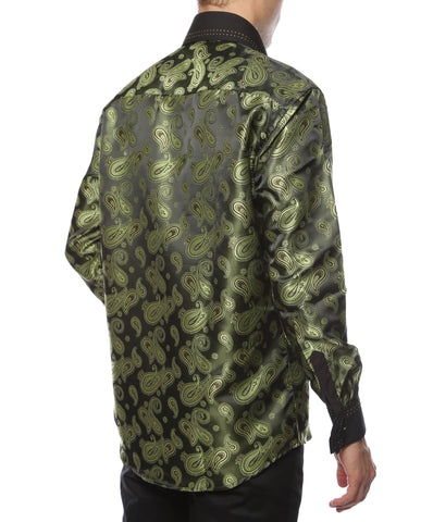 Ferrecci Men's Satine Hi-1010 Green Paisley Button Down Dress Shirt