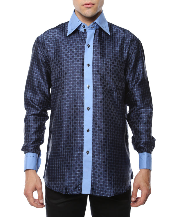 Ferrecci Men's Satine Hi-1011 Blue Repeated Circle Pattern Button Down Dress Shirt