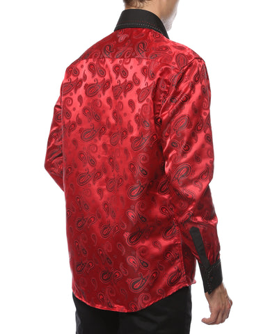 Ferrecci Men's Satine Hi-1012 Red Black Paisley Button Down Dress Shirt