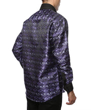 Ferrecci Men's Satine Hi-1013 Purple & Black Flower Button Down Dress Shirt - Ferrecci USA