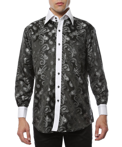 Ferrecci Men's Satine Hi-1014 White & Black Paisley Button Down Dress Shirt