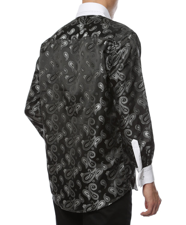 Ferrecci Men's Satine Hi-1014 White & Black Paisley Button Down Dress Shirt - Ferrecci USA