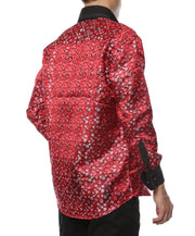 Ferrecci Men's Satine Hi-1015 Red & Black Flower Button Down Dress Shirt - Ferrecci USA
