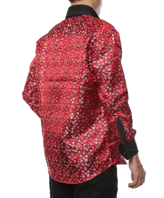 Ferrecci Men's Satine Hi-1015 Red & Black Flower Button Down Dress Shirt