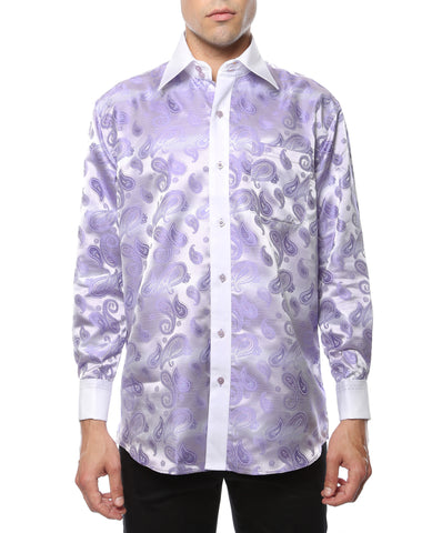 Ferrecci Men's Satine Hi-1016 Purple & Lilac Paisley Button Down Dress Shirt