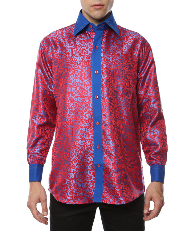 Ferrecci Men's Satine Hi-1017 Red & Blue Button Down Dress Shirt
