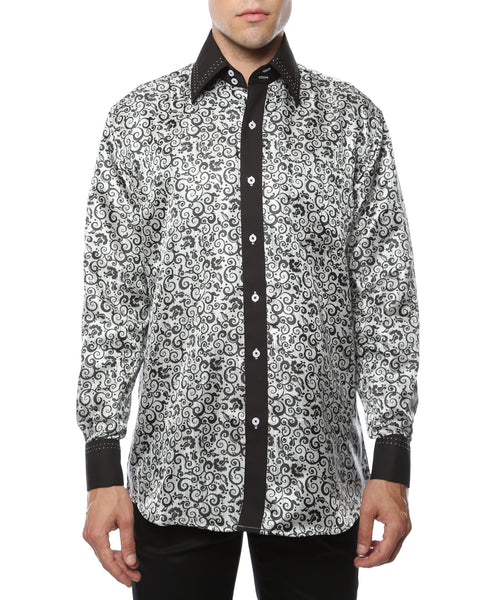 Ferrecci Men's Satine Hi-1021 Black & White Pattern Button Down Dress Shirt