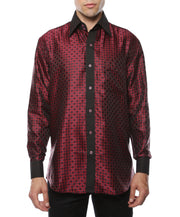 Ferrecci Men's Satine Hi-1023 Burgundy Red and Black Circle Pattern Button Down Dress Shirt
