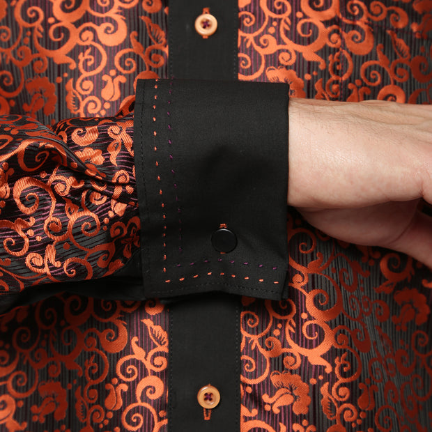 Ferrecci Men's Satine Hi-1024 Black & Orange Pattern Button Down Dress Shirt - Ferrecci USA