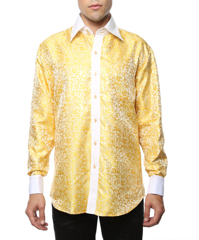 Ferrecci Men's Satine Hi-1026 Yellow Pattern Button Down Dress Shirt