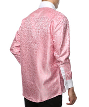 Ferrecci Men's Satine Hi-1027 Pink Pattern Button Down Dress Shirt