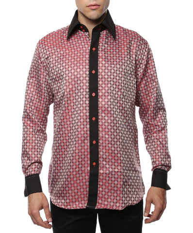 Ferrecci Men's Satine Hi-1028 Red & Black Circular Pattern Button Down Dress Shirt