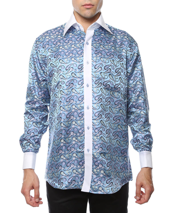 Ferrecci Men's Satine Hi-1029 White & Blue Flower Pattern Button Down Dress Shirt - Ferrecci USA