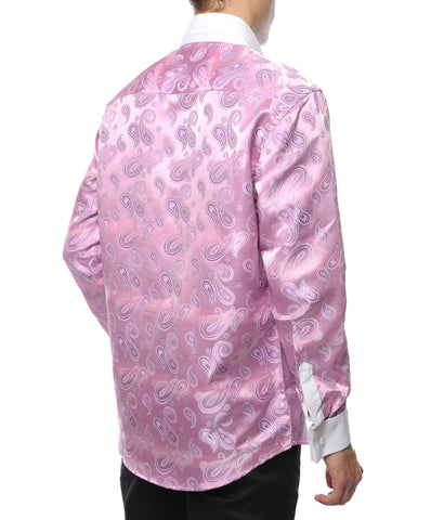 Ferrecci Men's Satine Hi-1030 Pink Paisley Pattern Button Down Dress Shirt
