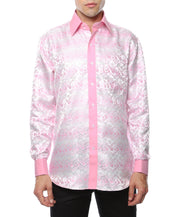 Ferrecci Men's Satine Hi-1031 Pink Flower Pattern Button Down Dress Shirt