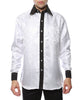 Ferrecci Men's Satine Hi-1033 Black Circle Pattern Button Down Dress Shirt