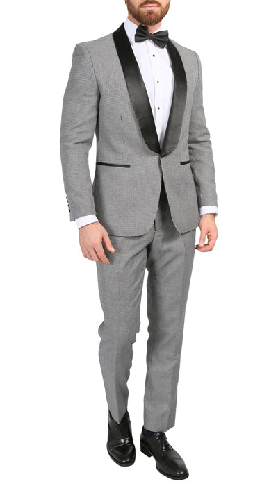 Ferrecci Men's Hilton Skinny Slim Fit Houndstooth Shawl Lapel 2pc Tuxedo - Ferrecci USA